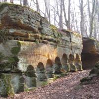 Pískovcová skála ve Vinořském parku